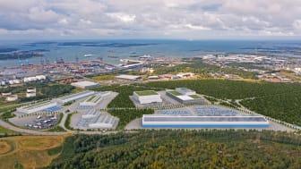 Visionsbild över hur logistiknavet Halvorsäng vid Göteborgs Hamn kan komma att gestalta sig. Foto: Göteborgs Hamn AB