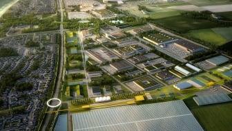 Visionsbild för framtida Business Center Trelleborg. Fastighetsförvärvet ger kommunen rådighet över över huvuddelen av markområdet i Business Center och möjliggör för kommunen att fokusera på en fortsatt långsiktig tillväxt.