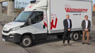 Johan Nyblom från Widriksson Logistik tillsammans med Magnus Hugne från MediCarrier.