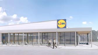 Havainnekuva Riihimäen Lidlin myymälästä. Kuva: Sweco