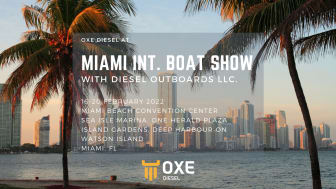 OXE Diesel displayed at Miami International Boat Show by Diesel Outboard LLC