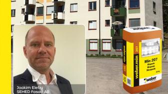 Joakim Eleby på SEHED Fasad har webermin 207 rivputs som sin Weberfavorit