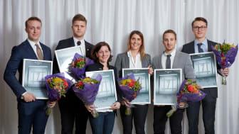 Årets vinnare, från vänster: Filip Lindmark, Marcus Lindh, Lena Johnsen, My Ambrén, Lukas Tådne, Marcus Forsberg.