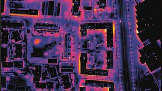 Värmeljus; värmen från en stadsdel fångad med värmekänslig kamera. Foto: Energiföretagen Sverige.