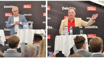 Från vänster: Mats Kinnwall chefsekonom på Teknikföretagen och Henry Olsson, vice riksbankschef Riksbanken.