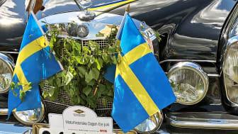 Gammelbilens Vänner i Värmlands firande gillades mest i fjol där denna flaggprydda Mercedes deltog. Motorhistoriska dagen firas trots allt på nationaldagen, den 6 juni. Foto: Ellen Stensrud Forslund/Gammelbilens Vänner i Värmland