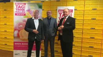 v. l. n. r.: Jürgen Fischer-Pass (RVR), Axel Biermann (RTG) und Jörg Bennek (Metro) bei der heutigen Pressekonferenz