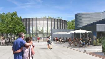 Kulturhuset Viften får både ny musikskole og bistro tilknyttet. Begge dele er under opførelse.