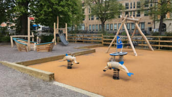 Den ombyggda lekplatsen i Stadsparken.