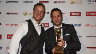 På vegne av SkiStar mottok Helge Bonden (t.h.) prisene for Trysil og Åre, som henholdsvis Norges og Sveriges beste skisted under World Ski Awards.