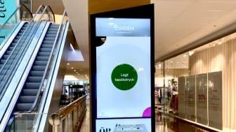De digitala ytorna i Lindens köpcentrum visar besökstrycket i realtid