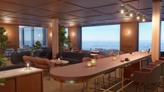 Vy från Algot's, en av de nya restaurangerna ombord på Viking Glory