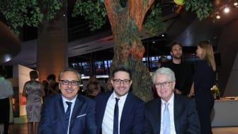 Schauspieler Wolfgang Stumph, Marketingleiter Carsten Frederik Buchert und Showmaster-Legende Frank Elstner beim Felix Burda Award 2016