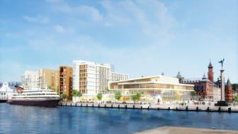 Kongresscentret SeaU i Helsingborg. Skissbild av JAIS arkitekter.