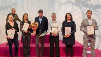 Några av vinnarna i Vinordic Wine Challenge 2018. Foto: Jonas Sveningsson / Stockholmsmässan.