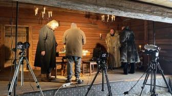"""Under inspelningen av """"Tre Hjalmar On Ice"""" - årets föreställning på Stadra Vinterscen. Foto: Stadra Teater"""