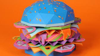 The Future of Food – Burger by Zim&Zou. Zim&Zou är en fransk konstnärsduo bestående av Lucie Thomas och Thibault Zimmermann. Bilden är en del av deras projekt 'The Future of Food' skapat för Icon Magazine 104.