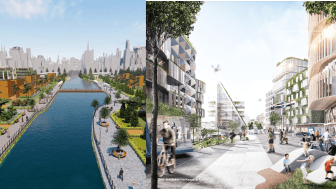 Visionsbilder för nya städer som ska byggas i Namyangju, Sydkorea och Landvetter Södra i Härryda kommun. Båda städerna ska byggas med höga ambitioner inom hållbarhet och innovation.