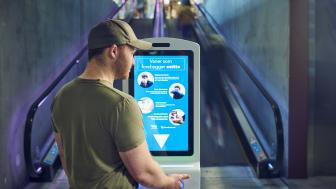 Effektiv håndrens kombinert med digitale informasjonsplakater. Foto: Christian Wangberg / Studio Wangberg