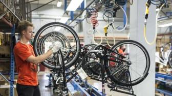 Elcykelproduktionen på Cycleuropes fabrik i Varberg startade hösten 2016.