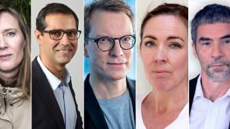 Från vänster: Jonna Bornemark, Arion Chryssafis, Samuel Engblom, Jenny Westerstrand, Mathias Sylwan.