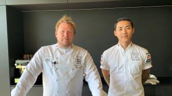 Gunnar Hvarnes (til venstre) og assistent Kim Lamram. Foto: Tove Sleipnes, Norges sjømatråd