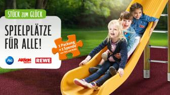REWE, Procter & Gamble und die Aktion Mensch unterstützen Kinder mit und ohne Behinderung im gemeinsamen Spiel.
