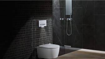 Geberit ONE toalett visar de innovativa möjligheterna som kan uppnås genom att kombinera kunskap inom sanitetsteknologi bakom väggen med state-of-the-art designexpertis framför väggen.