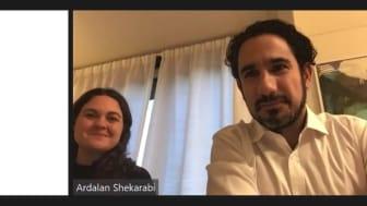 Bild från det digitala mötet - Veronica Magnusson Hallberg, Anna Brandström, Maja Stilling och Ardalan Shekarabi.