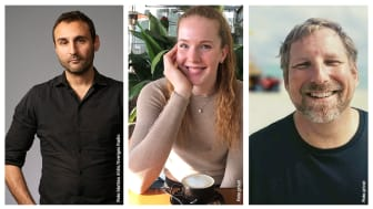 Ängelholms tre nya ambassadörer. Från vänster: Johar Bendjelloul, Isabelle Haak och Jonas Bonde