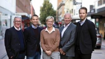 Styrelsen för Byggrätt Norr. Fr v Wilhelm Risberg, Lindbäcks. Tom Rasmussen, Heimstaden. Åsa Andersson, Skebo. Per Gustafsson, Skebo. Lars Lundgren, Riksbyggen.