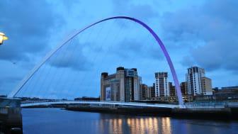 Gateshead Millenium Bridge turns purple to launch Action on Stroke Month