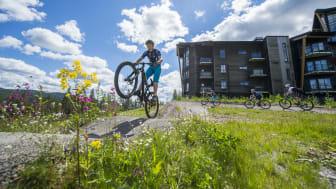 I Trysil finner man tilrettelagte og morsomme sykkelstier rett utenfor hotelldøra.