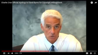 SCREENSHOT: Charlie Crist's YouTube apology to David Byrne