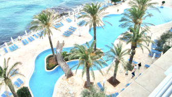 £120,000 view.  From Neil and Kim Bacon's penthouse balcony at Azure's Golden Sands resort