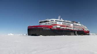 The pioneering MS Roald Amundsen is along with her sister MS Fridtjof Nansen the world's first hybrid expedition ships. Photo: Hurtigruten / Andrea Klaussner