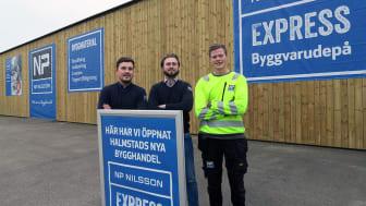 Martin Sörensen, platschef, Filip Boberg, byggsäljare och Isak Petersson, bygglager. Några från den stolta personalen i Halmstad som är med och startar upp NP Nilsson Express.