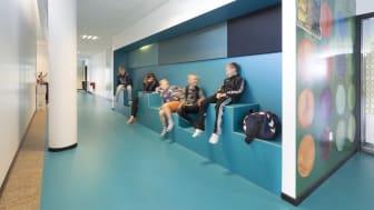 Arkitema har blandt andet stået for ombygningen af Lyreskovskolen ved Aarbenraa, der ses herover.