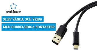 Nytt i Renkforce-sortimentet är USB-anslutningskablar som har en Apple Lightning- eller USB-C-kontakt i ena änden och en speciell USB-A-kontakt, som är dubbelt anslutningsbar, i andra. Fotokälla: Conrad Electronic