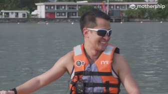 Lionel Yeo, CEO of Singapore Sports Hub, taking part in an interview in a kayak with Mothership