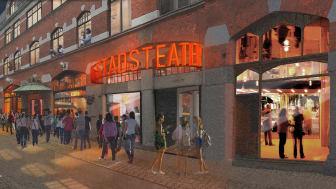 Skiss på förslaget till Hipps nya entré på Kalendegatan. Foto Haworth Thompkins
