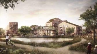 Havainnekuva: Sweco Architects, Rantzausbakken uusi asuinalue, Horsens, Tanska