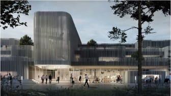 Visualisering af gymnasiets front og hovedindgang - lavet af KANT.