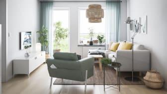 Vardagsrum i fyrarumslägenheten - illustrationsbild