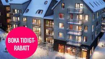 Gröna tak med solceller, vindsvåningar med loft, varierande höjder och skiftande fasader i HSBs kvarter Silverskatten