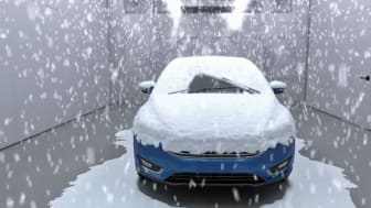 SNØ INNE: I det toppmoderne testsenteret til Ford som nå bygges i Køln vil omtrent alle værforhold kunne gjenskapes. Foto: FORD