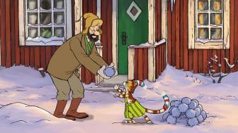 Snö är kul tycker Findus, gubben kan tycka att det räcker med snö nu
