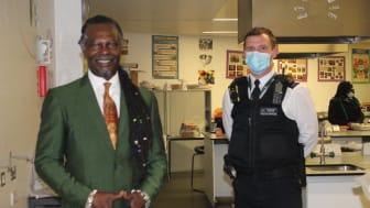 [Levi Roots and Lambeth schools officer PC Nigel Pearce]