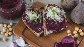 Smakrik rödbetshummus av svenska kokta rödbetor