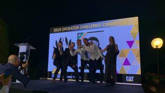 Caterpillar Operator Challenge 2019, europafinalen. De tre bästa förarna.